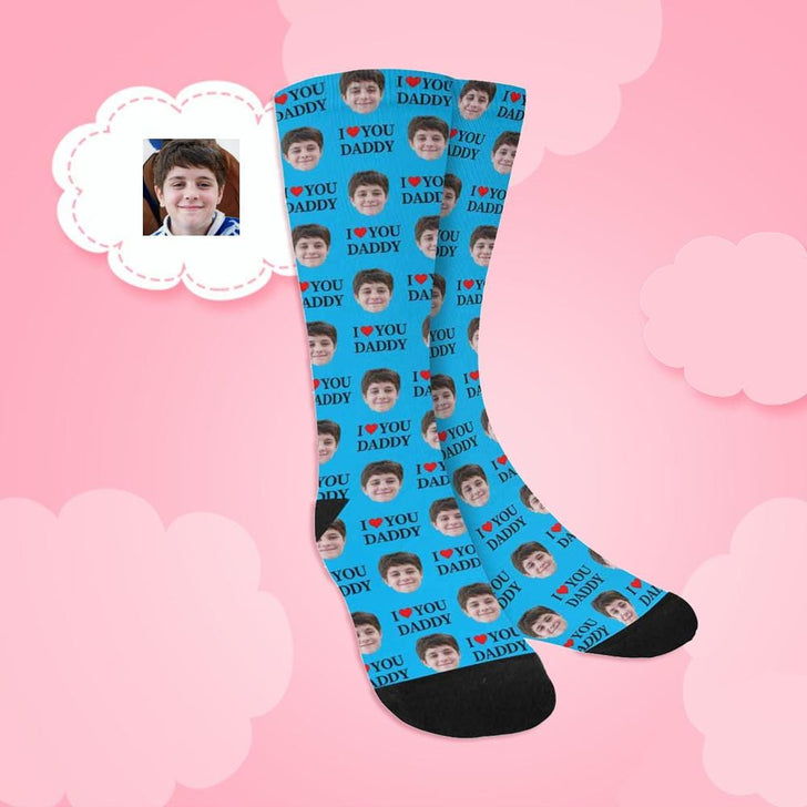 Custom Face I Love You Daddy Sublimated Crew Socks