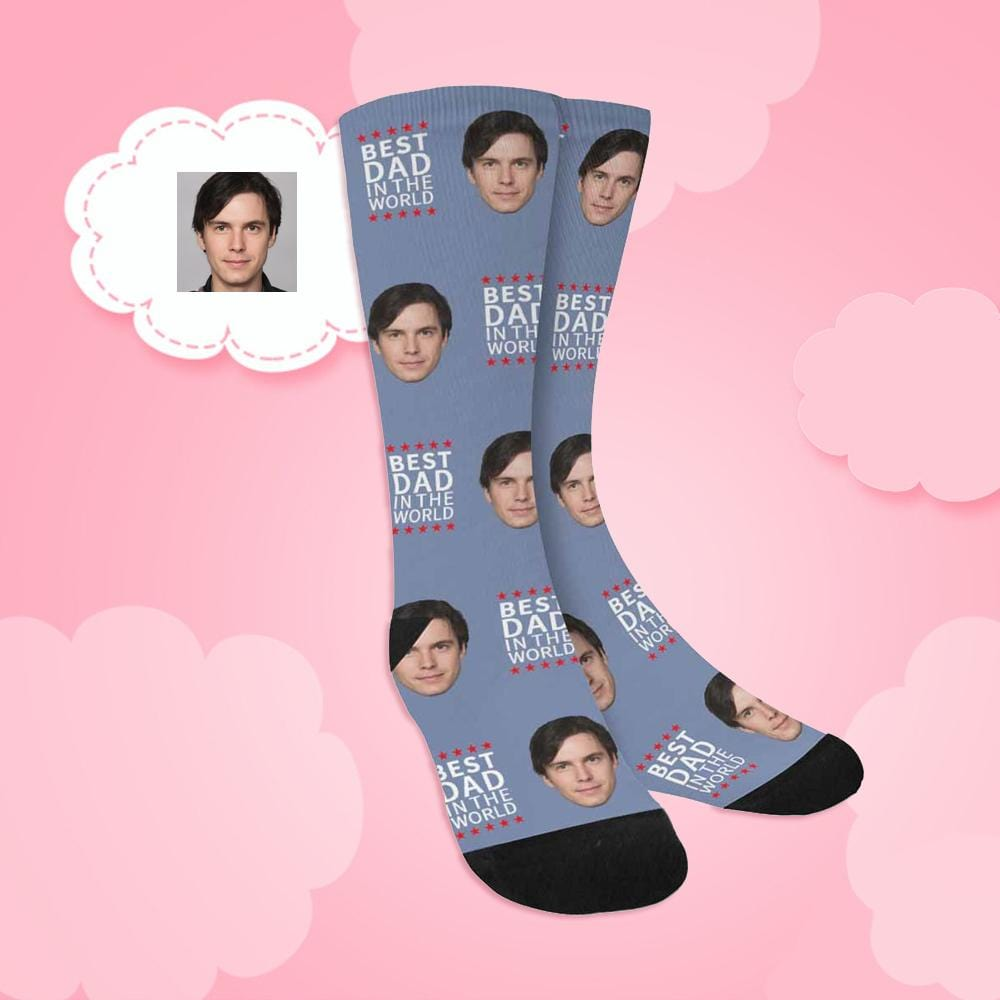 Custom Face Best Dad in the World Sublimated Crew Socks