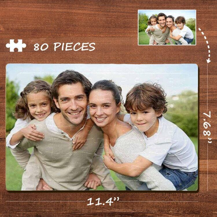 Custom Photo Loving Family Rectangle Jigsaw Puzzle