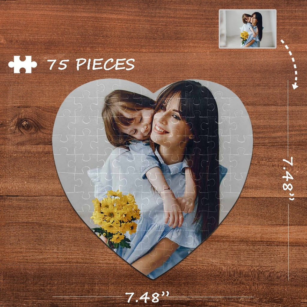 Custom Photo Heart-Shaped Puzzle 75 Pieces