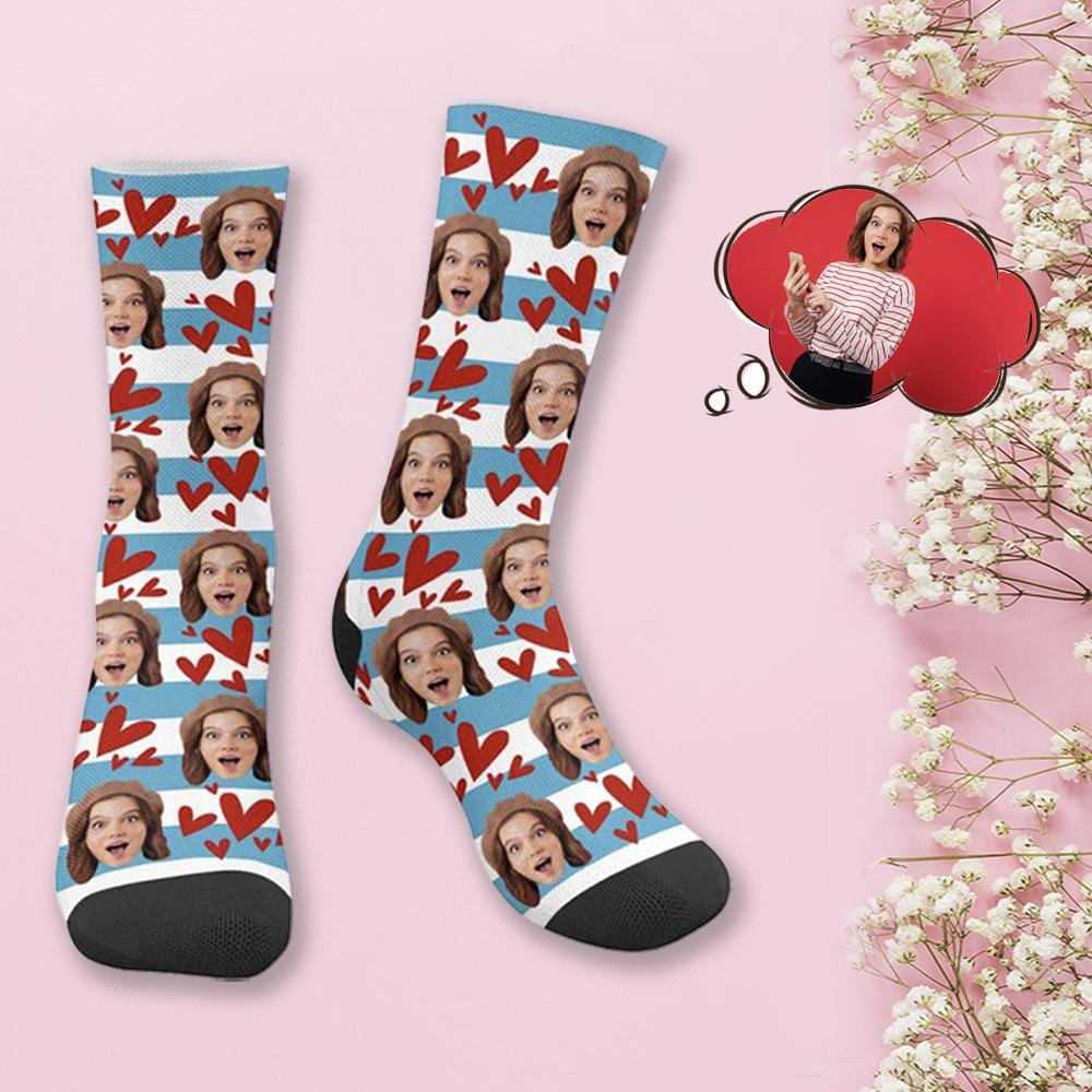 Custom Face Red Love Stripes Socks