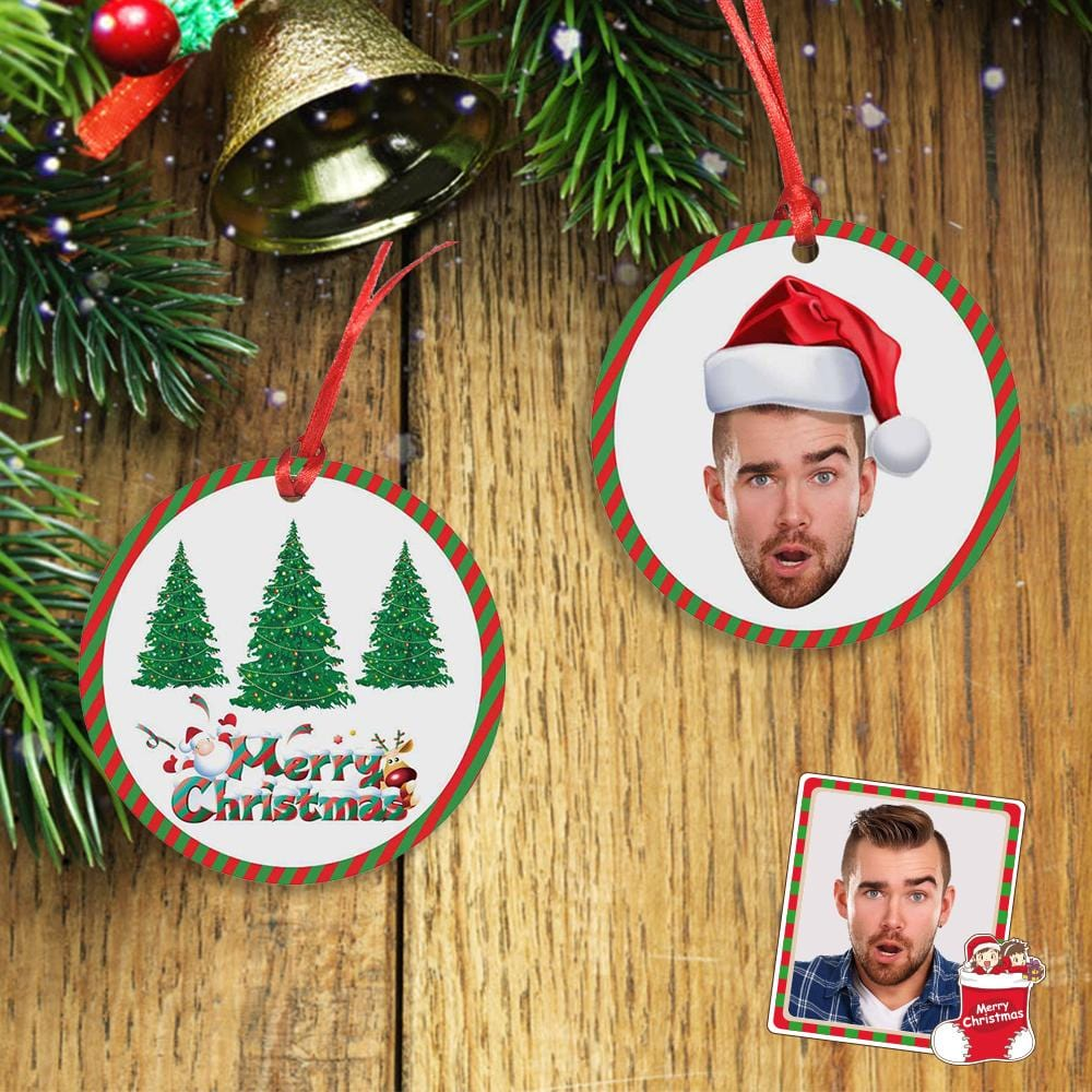 Custom Face Merry Christmas Tree Circle Ornament