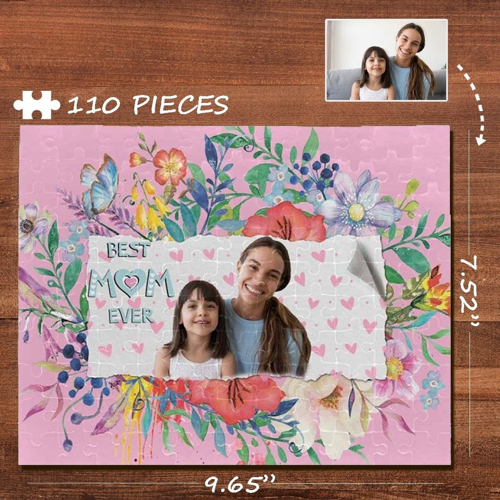 Custom Photo Best Mom Ever Flower Rectangle Jigsaw Puzzle Best Indoor Gifts 110 Pieces