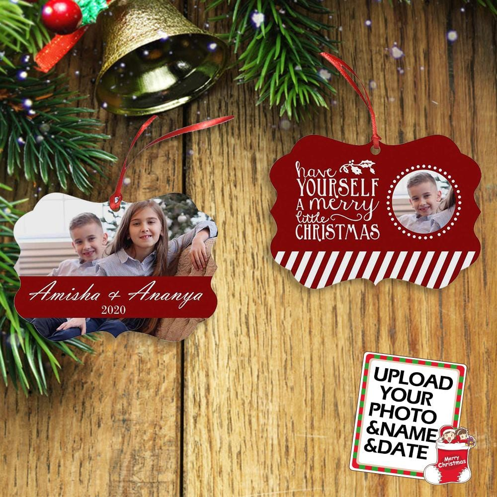 Custom Photo&Name&Date Sister&Brother Bracket Ornament