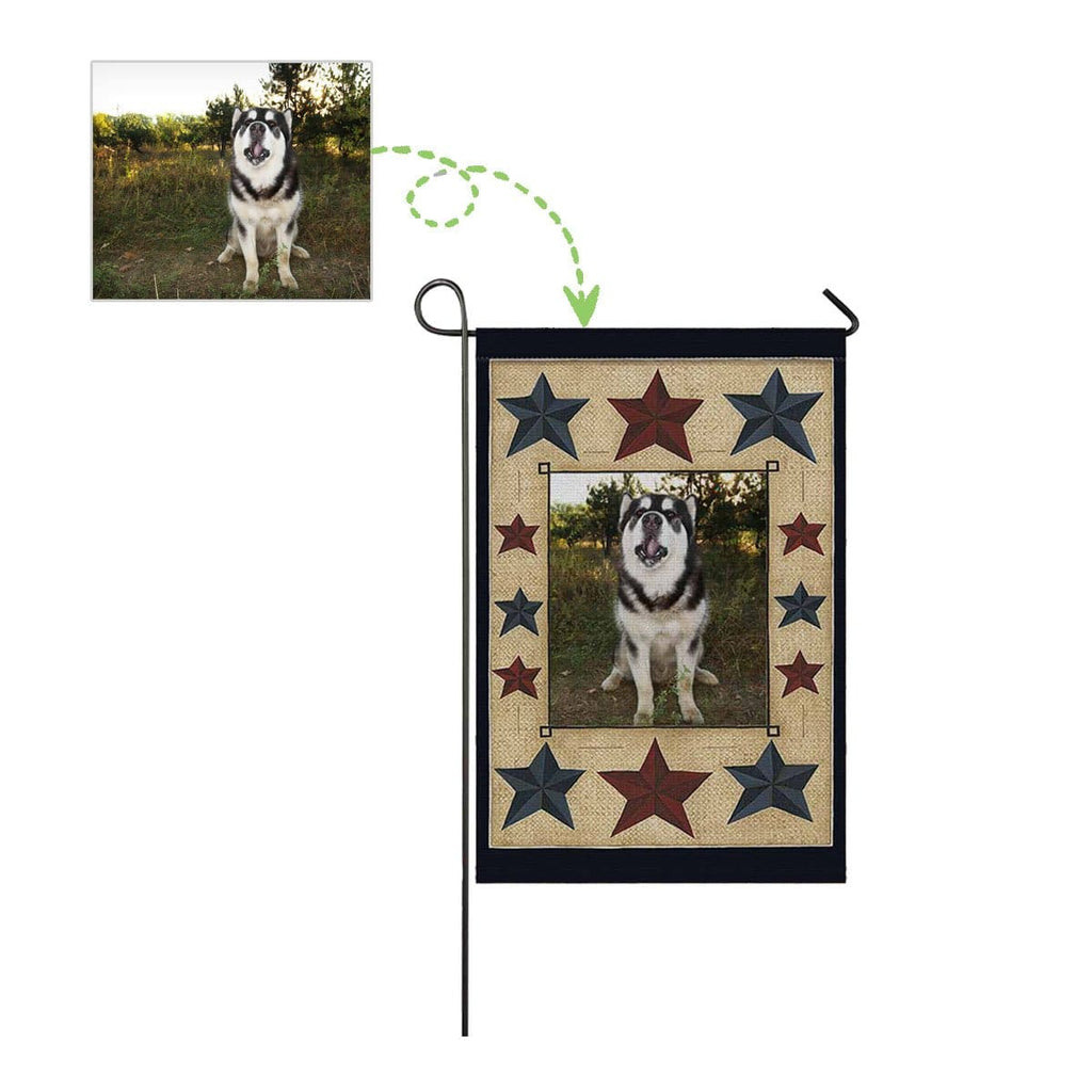 Custom Dog Face Star Garden Flag