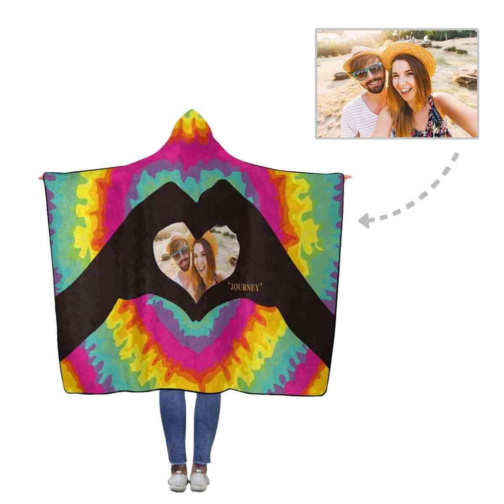 Custom Photo Colorful Love Flannel Hooded Blanket