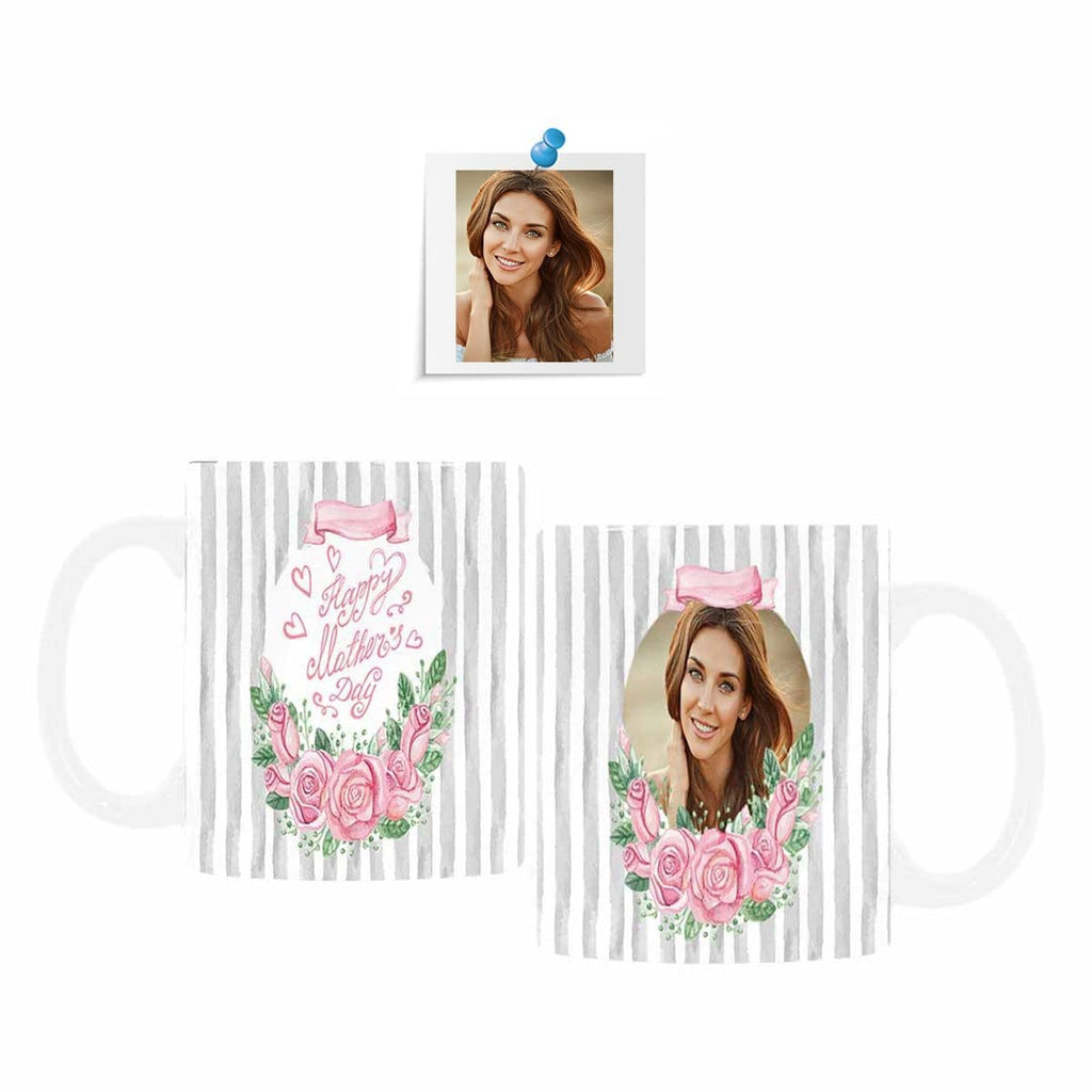Custom Face Mother's Day Floral Stripe Classical White Mug