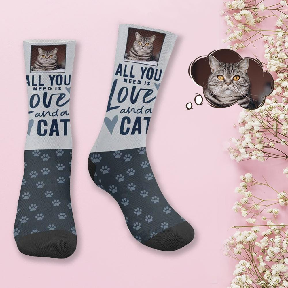 Custom Face Love Cat Socks