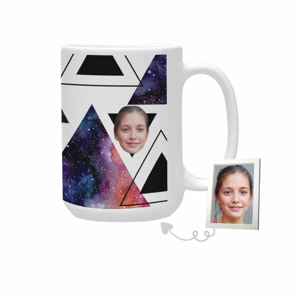 Custom Face Starry Sky Triangle Plus-Size Mug