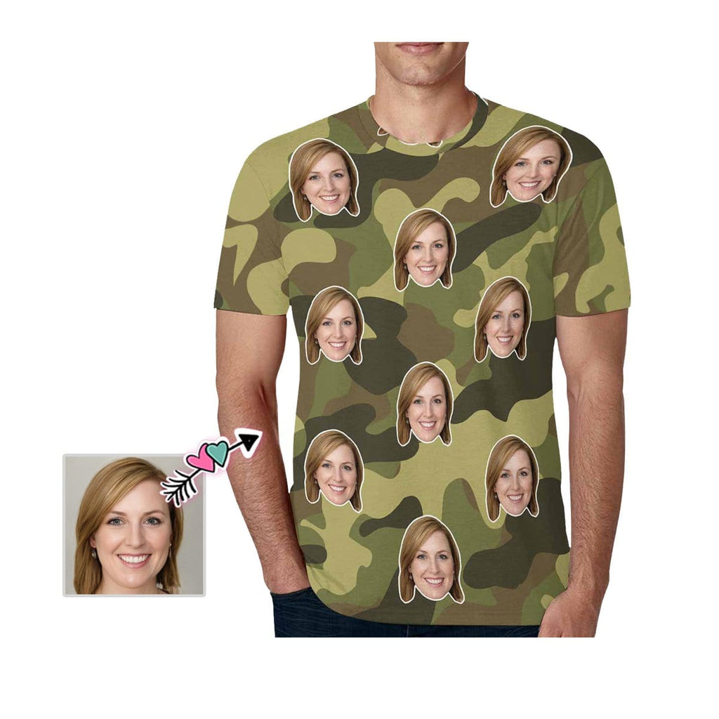 Custom Girlfriend face Tee Camouflage Men's All Over Print T-shirt