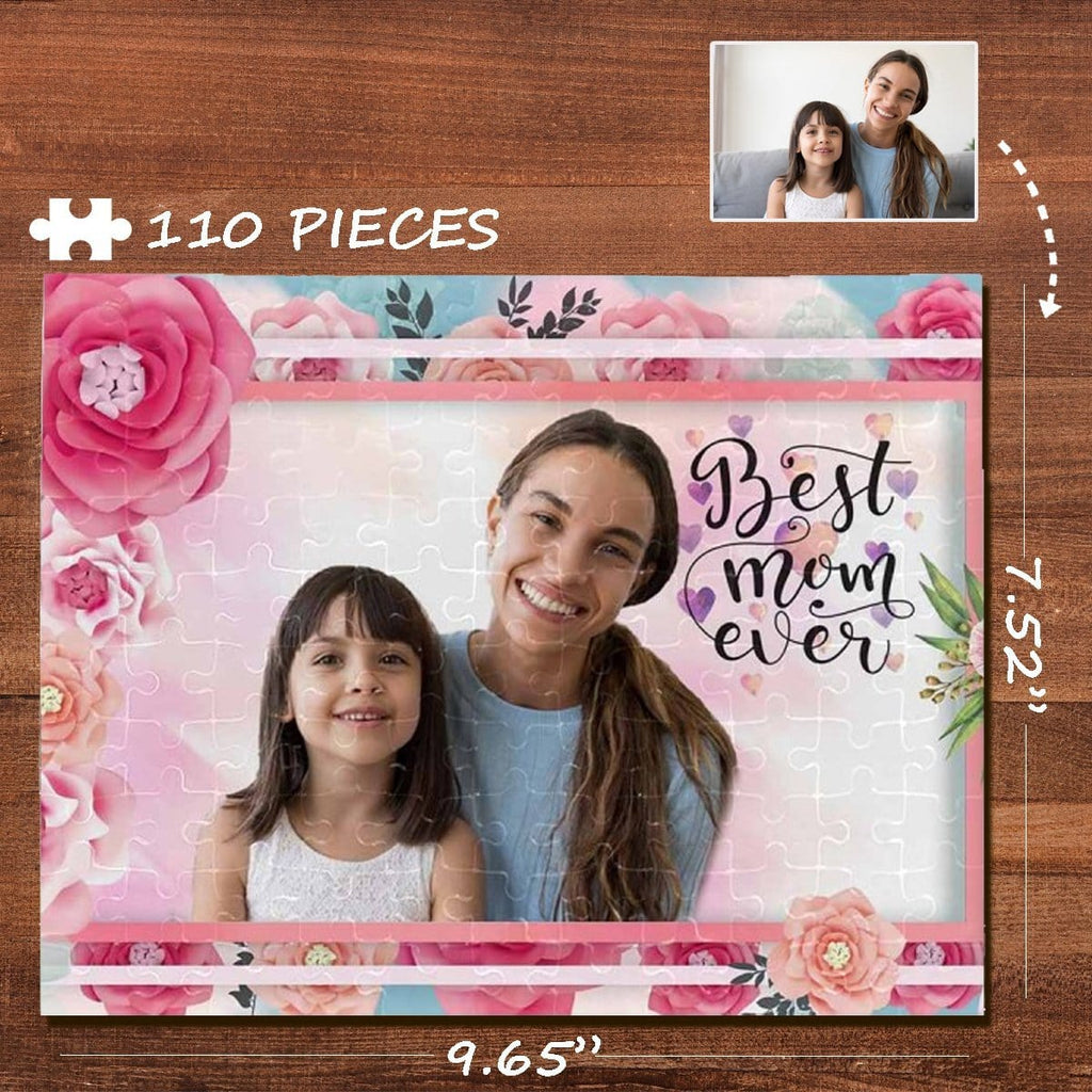 Custom Photo Loving Mother Daughter Rectangle Jigsaw Puzzle Best Indoor Gifts 110 Pieces