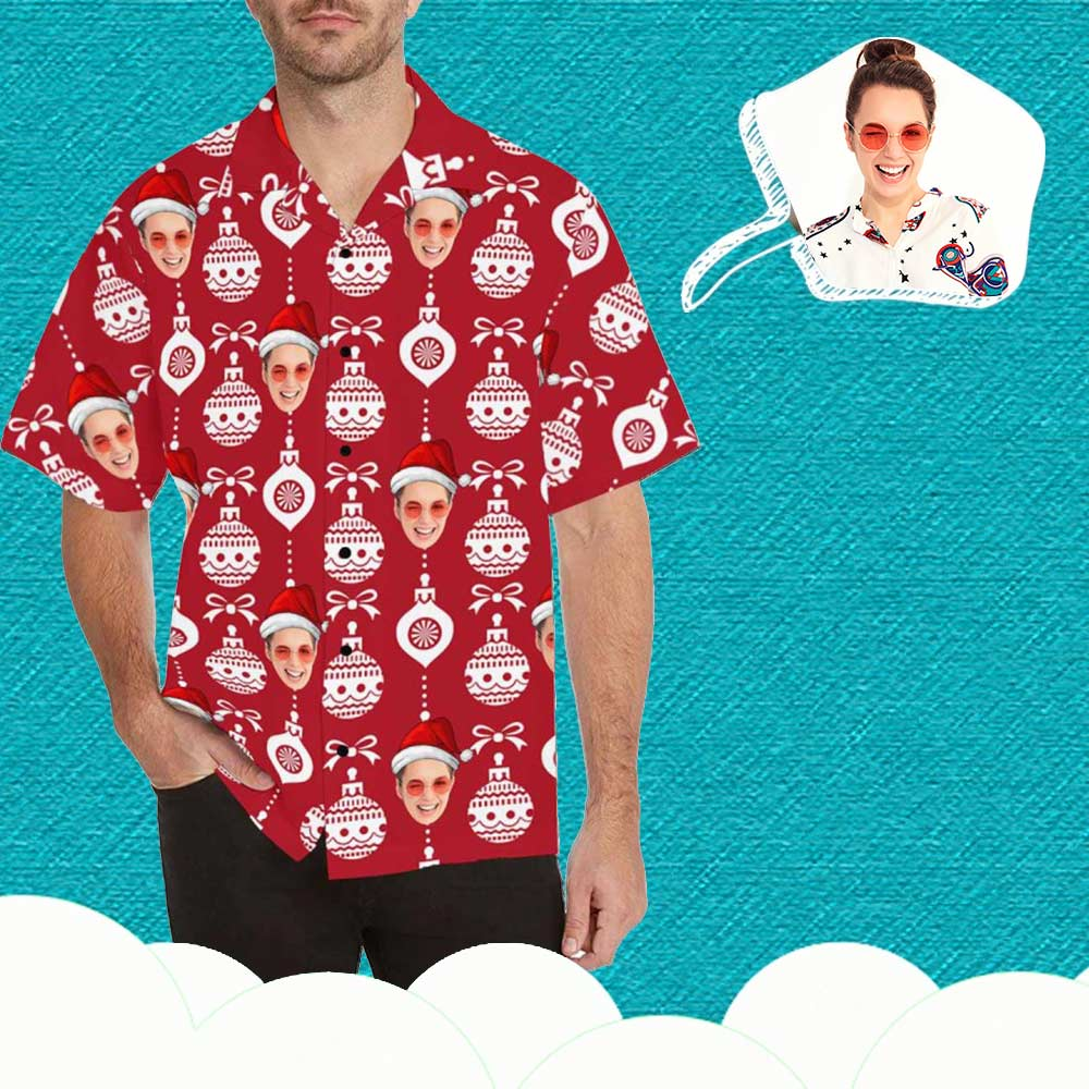 Custom Face Christmas Ball Men's Hawaiian Shirt
