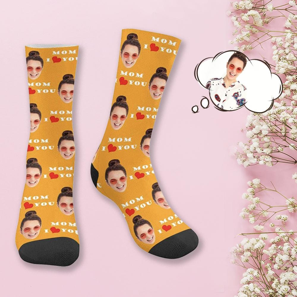 Custom Face Mom l Love You Socks