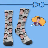 Custom Face Best Man Bow Sublimated Crew Socks
