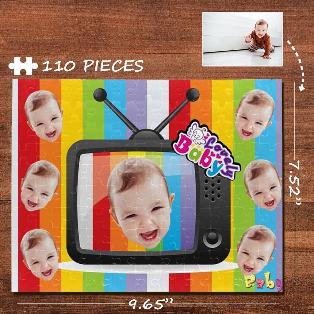 Custom Face Rainbow TV Rectangle Jigsaw Puzzle Best Indoor Gifts 110 Pieces