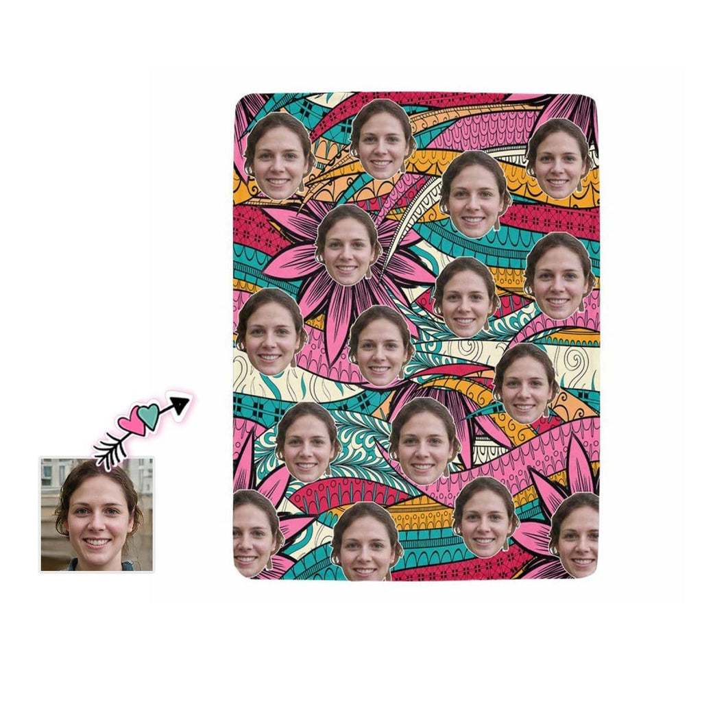Custom Face Bohemian Style Ultra-Soft Micro Fleece Blanket