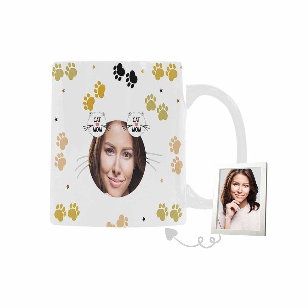 Custom Photo Cat Mom Classical White Mug