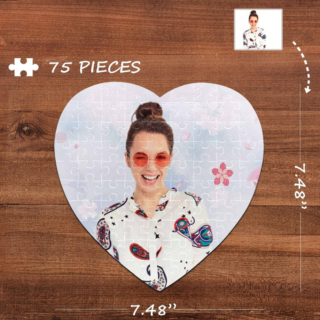 Custom Photo Cherry Blossoms Heart-Shaped Jigsaw Puzzle Best Indoor Gifts 75 Pieces