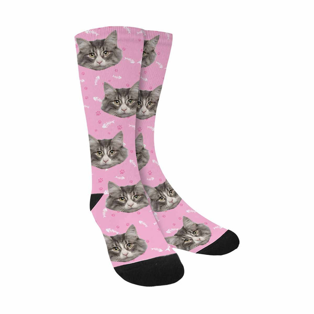 Custom Cat Paw and Fish Bone Sublimated Crew Socks