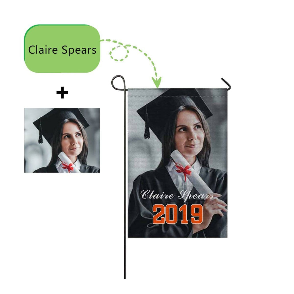 Custom Photo Name Graduate Garden Flag