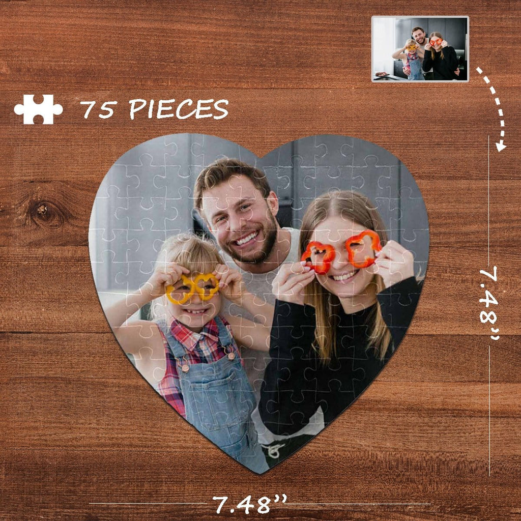 Custom Photo Gray Heart-Shaped Jigsaw Puzzle Best Indoor Gifts 75 Pieces