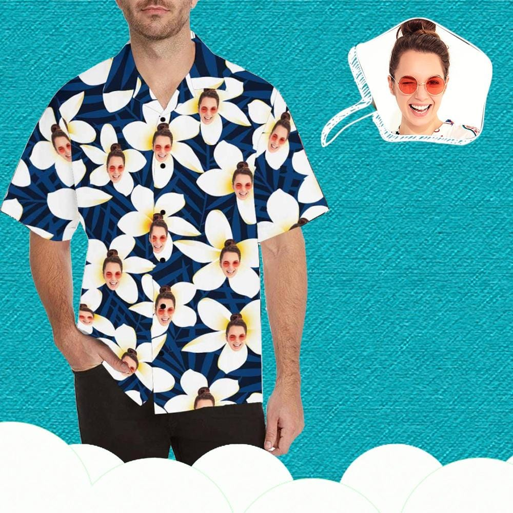 Custom Face Flowers Men's Hawaiian Shirt
