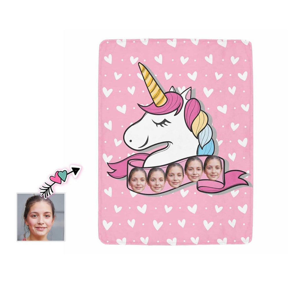 Custom Face Unicorn Ultra-Soft Micro Fleece Blanket