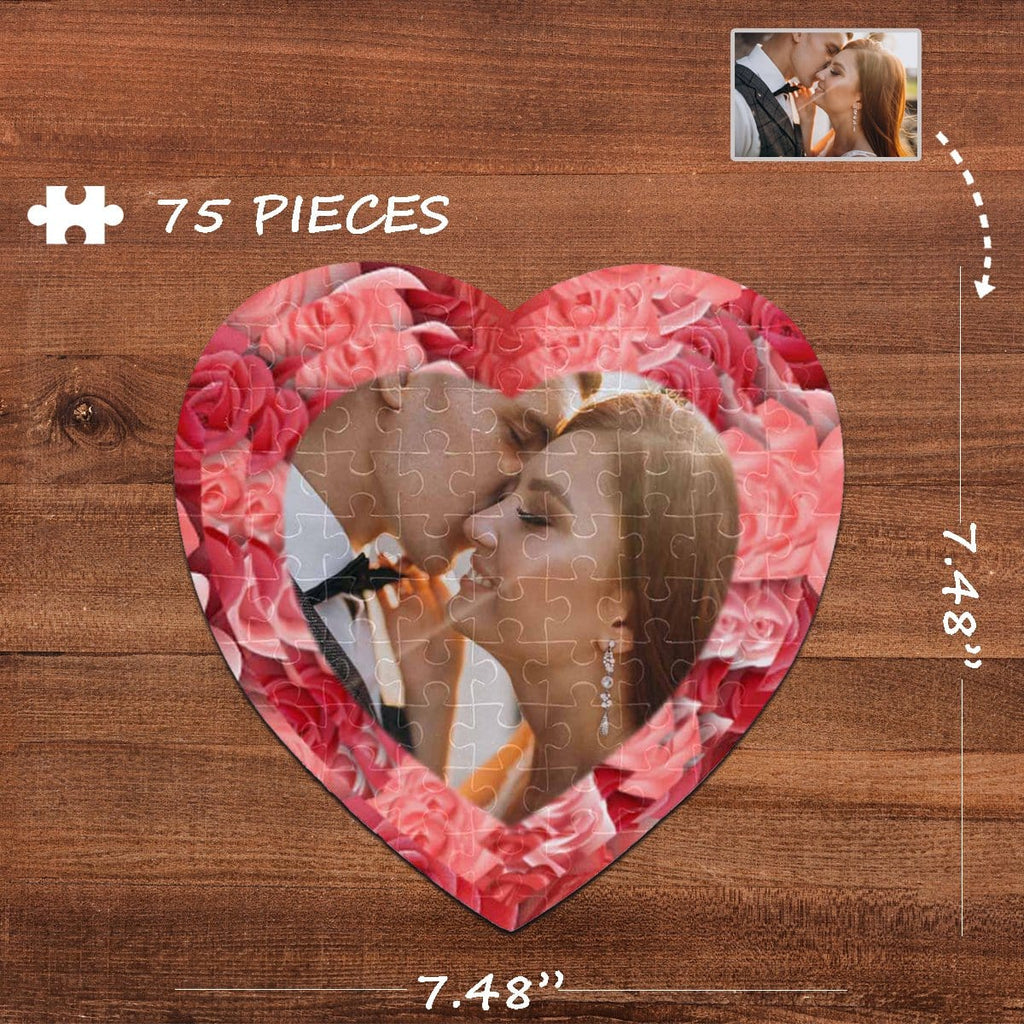 Custom Photo Rose Heart-Shaped Jigsaw Puzzle Best Indoor Gifts 75 Pieces