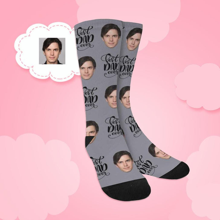 Custom Face Best Dad Ever Sublimated Crew Socks