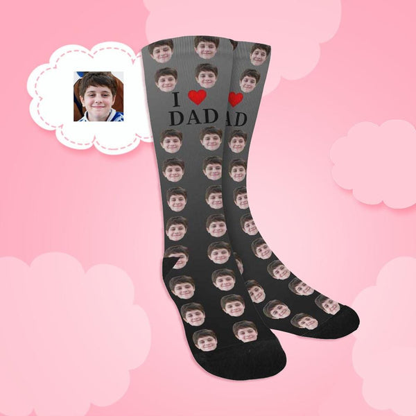 Custom Face I Love Dad Sublimated Crew Socks