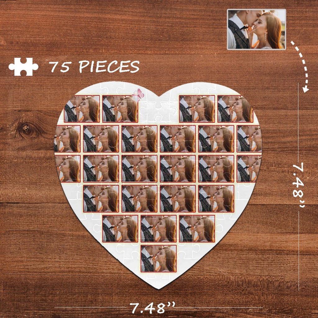 Custom Photo Slice Heart-Shaped Jigsaw Puzzle Best Indoor Gifts 75 Pieces