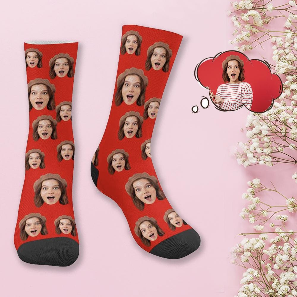 Custom Face Red Simple Socks