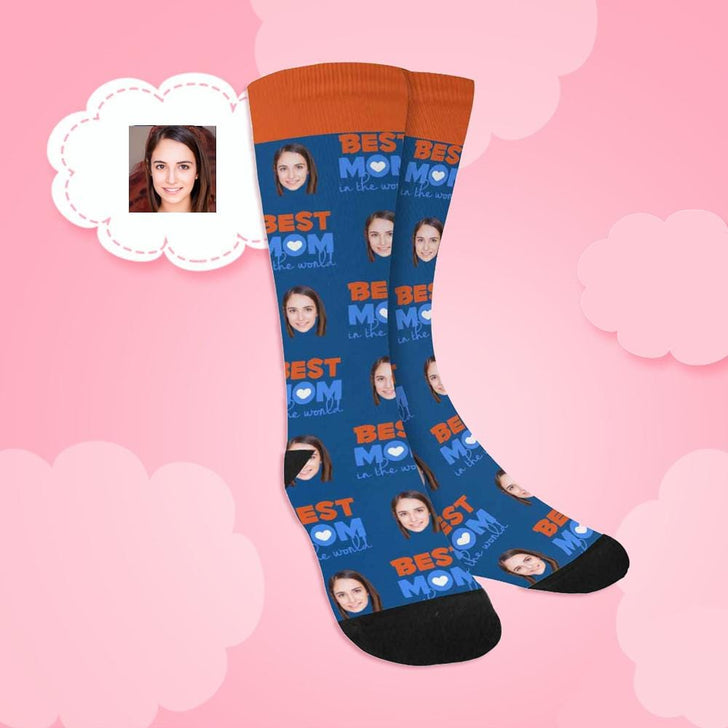 Custom Face Best Mom in the World Sublimated Crew Socks