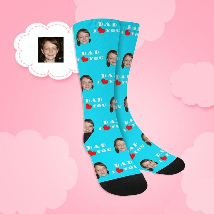 Custom Face Dad I Love You Sublimated Crew Socks