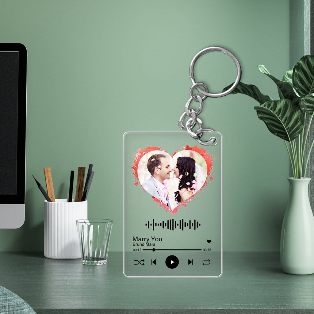 Custom Photo Song&Singer Plaque Frame Acrylic Keychain