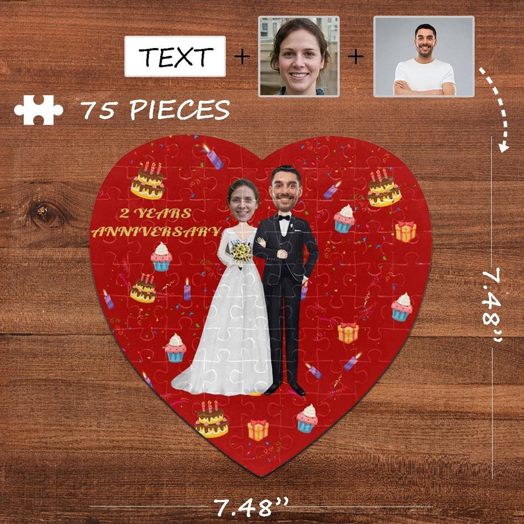 Custom Face Anniversary Heart-Shaped Jigsaw Puzzle Best Indoor Gifts For Lover 75 Pieces