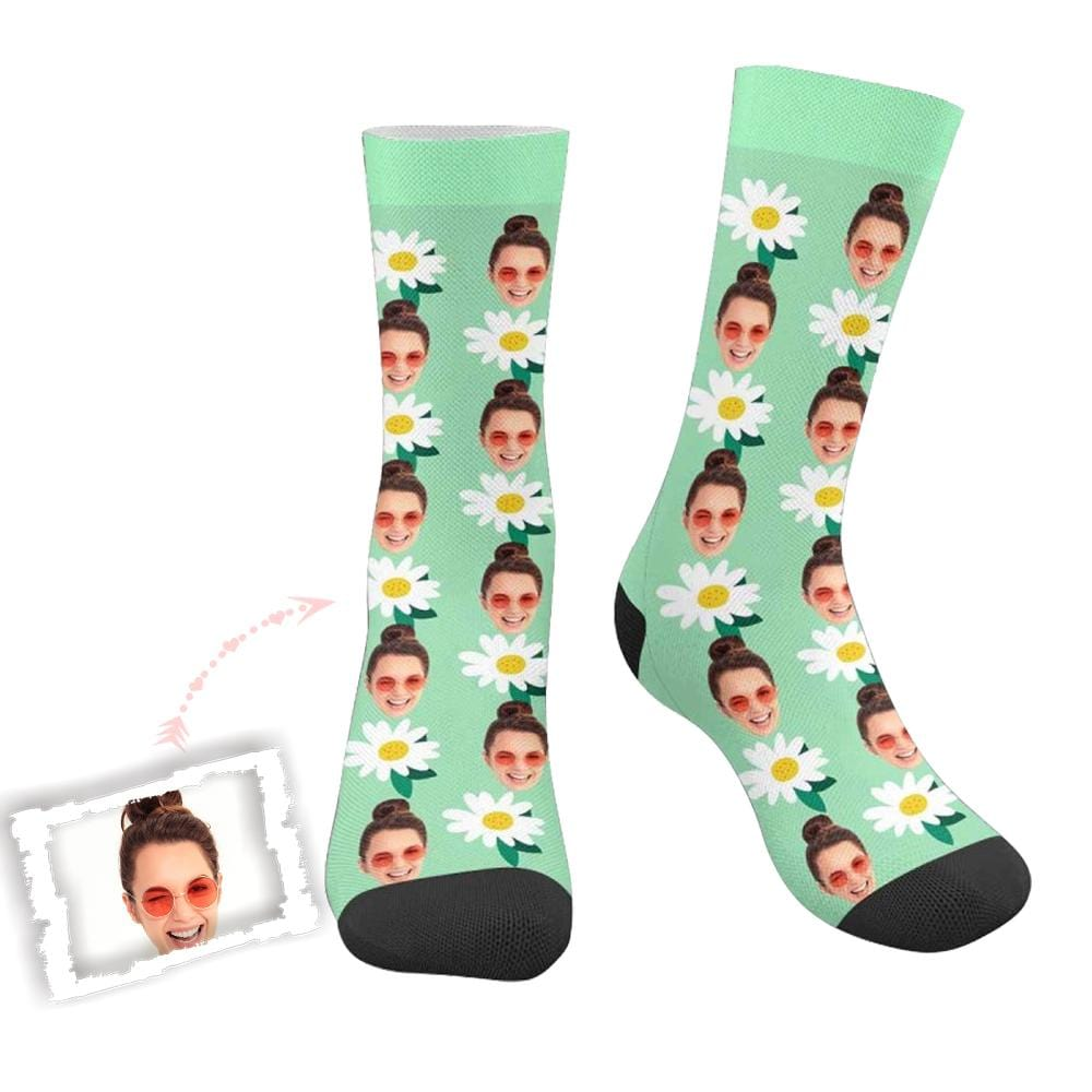 Custom Face Flower Green Socks