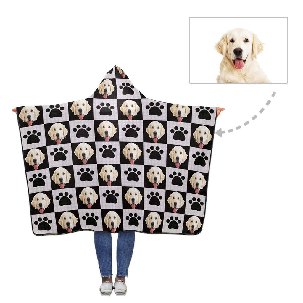 Custom Face Dog Paw Hooded Blanket