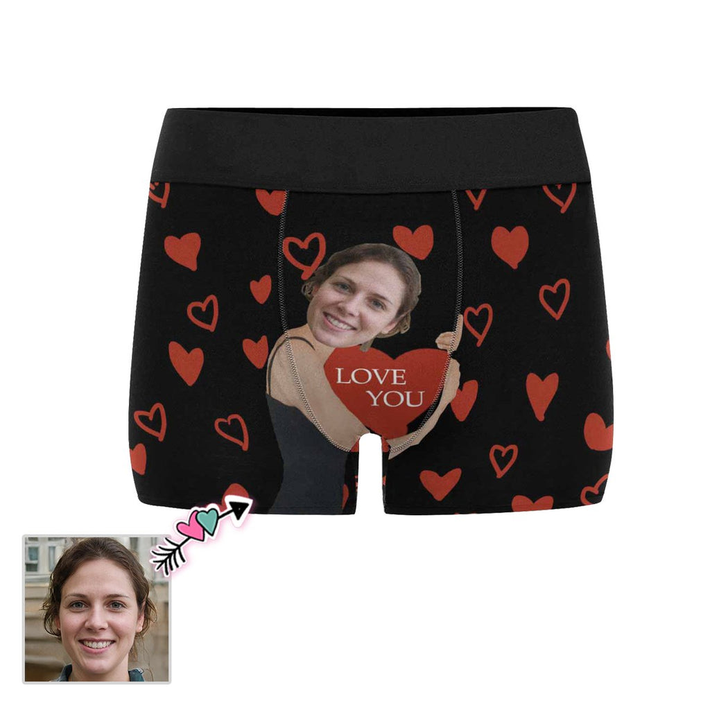 Custom Face Red Heart Embrace Men's All-Over Print Boxer Briefs