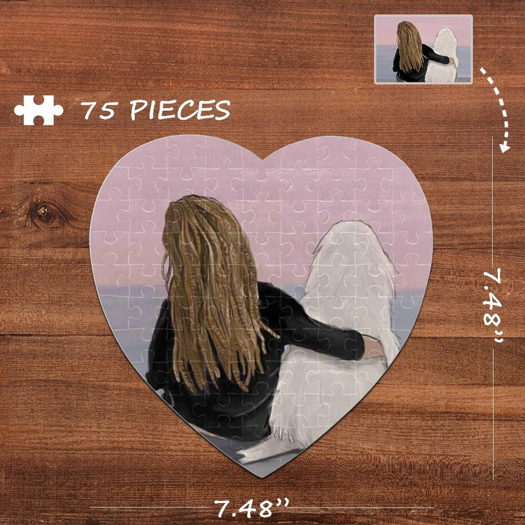 Custom Photo Girl And Dog Heart-Shaped Jigsaw Puzzle Best Indoor Gifts For Lover 75 Pieces