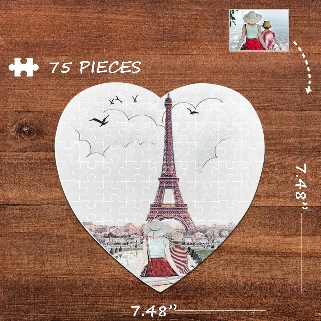 Custom Photo Tower Heart-Shaped Jigsaw Puzzle Best Indoor Gifts For Lover 75 Pieces