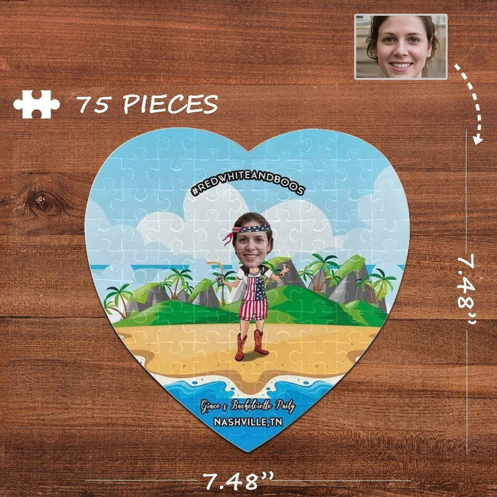 Custom Face Party Heart-Shaped Jigsaw Puzzle Best Indoor Gifts For Lover 75 Pieces