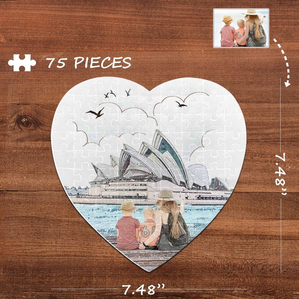 Custom Photo Opera House Heart-Shaped Jigsaw Puzzle Best Indoor Gifts For Lover 75 Pieces