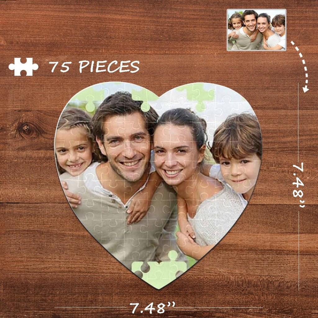Custom Photo Family Heart-Shaped Jigsaw Puzzle Best Indoor Gifts For Lover 75 Pieces