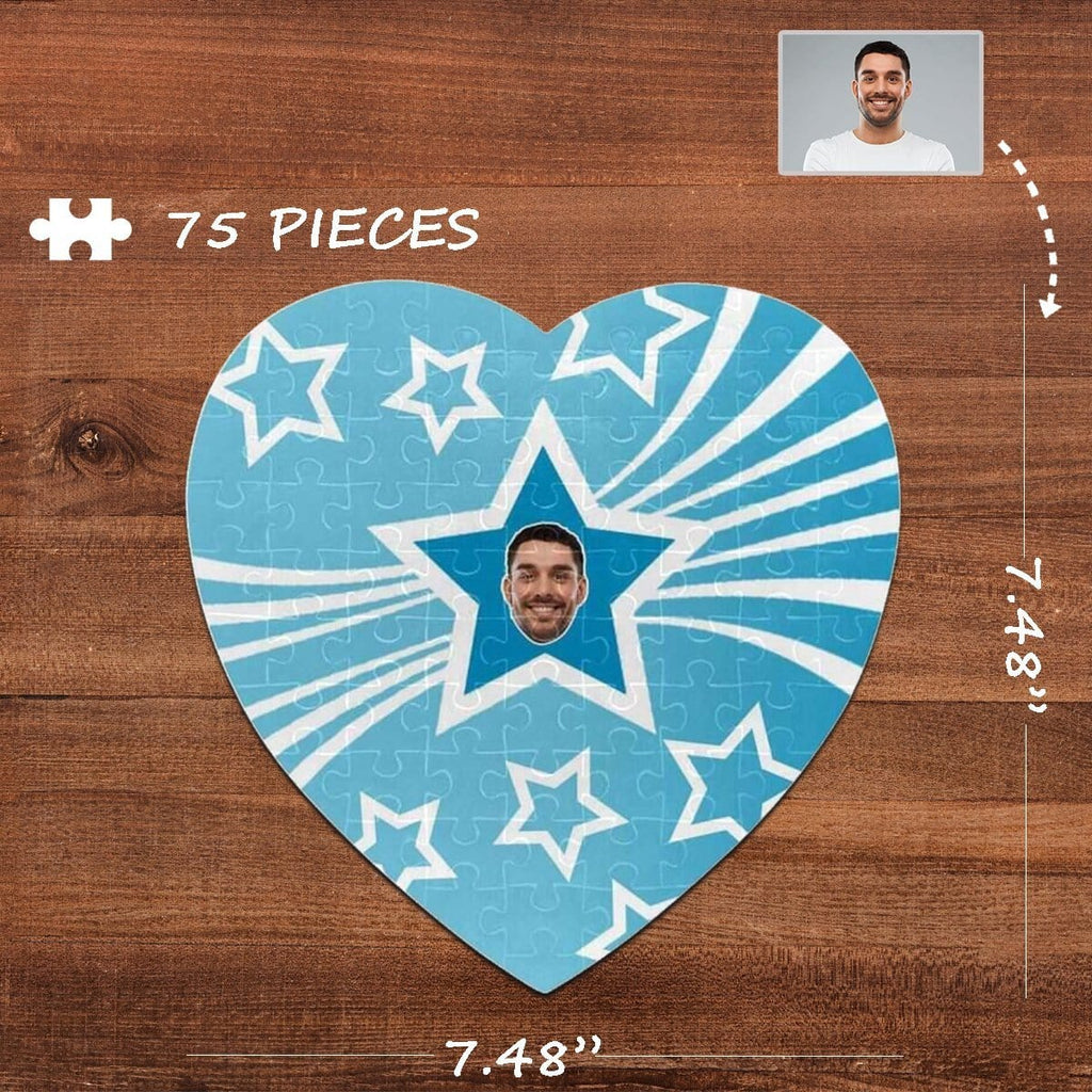 Custom Face Pentagram Heart-Shaped Jigsaw Puzzle Best Indoor Gifts For Lover 75 Pieces