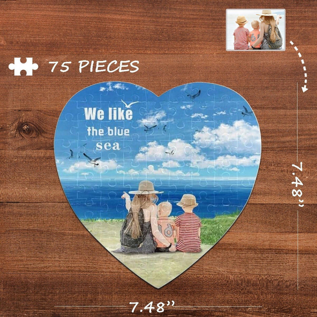 Custom Photo Blue Sea Heart-Shaped Jigsaw Puzzle Best Indoor Gifts For Lover 75 Pieces