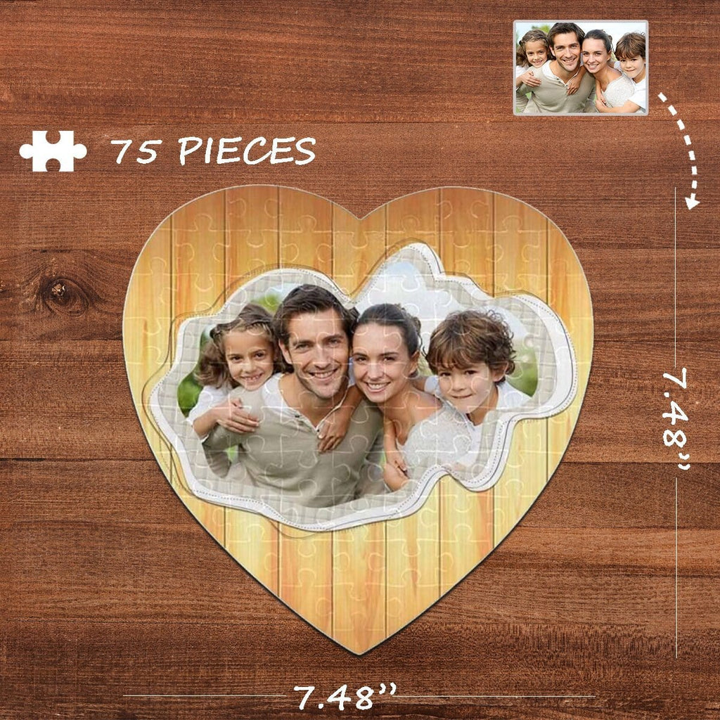 Custom Photo Happy Family Heart-Shaped Jigsaw Puzzle Best Indoor Gifts For Lover 75 Pieces