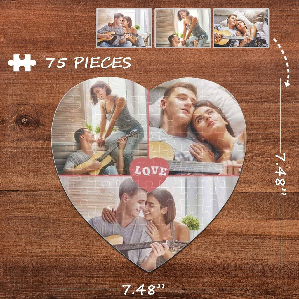 Custom Photo Love Heart-Shaped Jigsaw Puzzle Best Indoor Gifts For Lover 75 Pieces