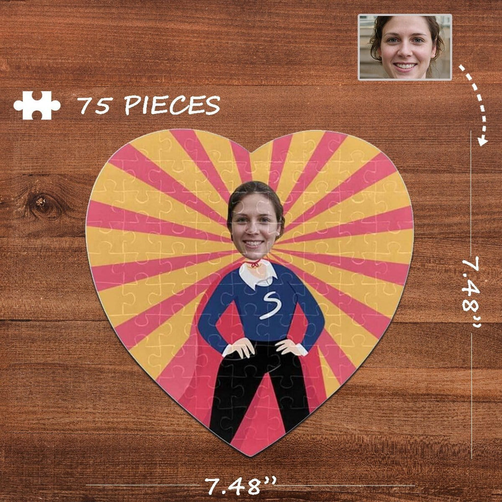 Custom Face Mother's Day Heart-Shaped Jigsaw Puzzle Best Indoor Gifts For Lover 75 Pieces