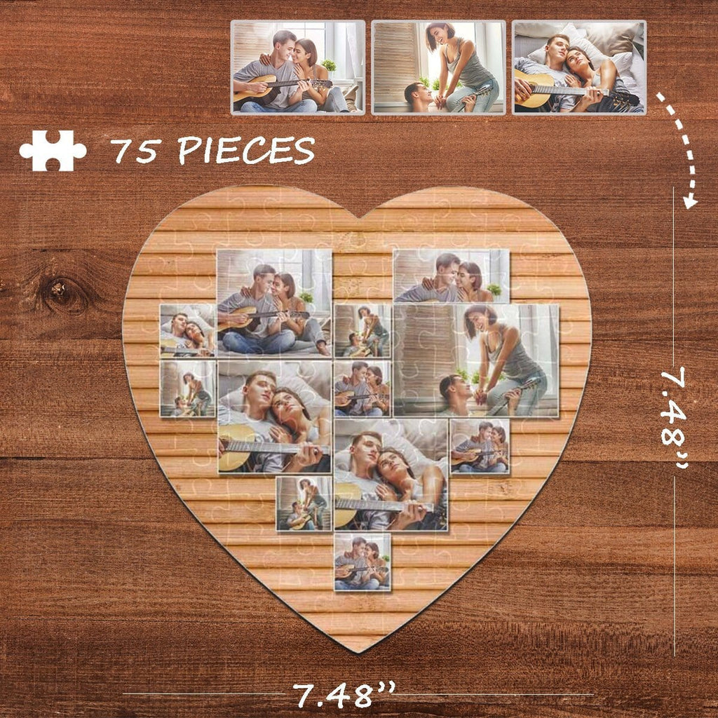 Custom Photo Darling Heart-Shaped Jigsaw Puzzle Best Indoor Gifts For Lover 75 Pieces